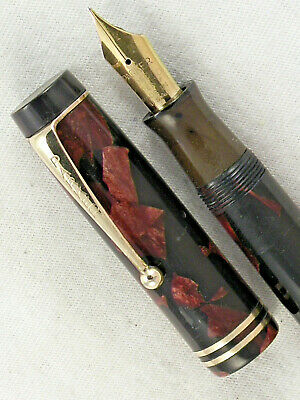 VINTAGE 1930s RED & BLACK MARBLED PARKER DUOFOLD SENIOR FOUNTAIN PEN ~ RESTORED