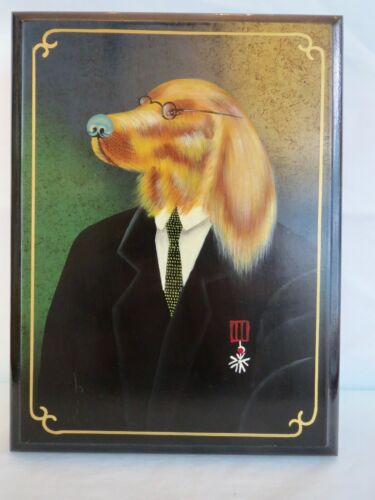 Vintage LACQUER BOX Dog Portrait Wearing Eyeglasses Hidden Storage Box / Jewelry