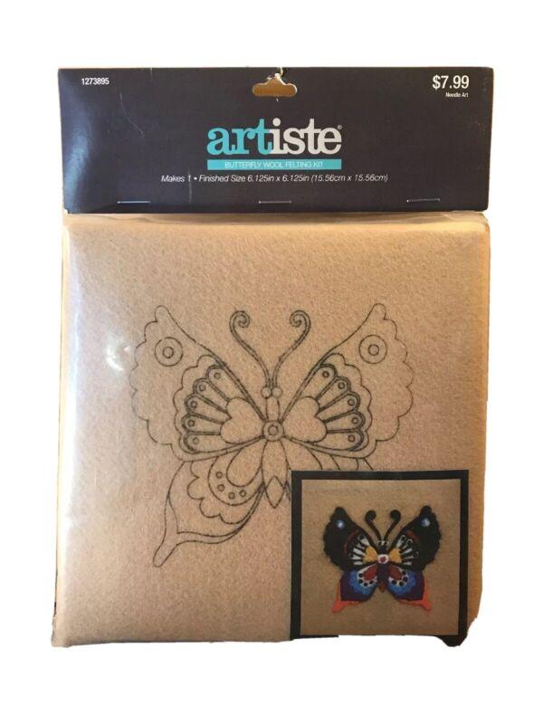 """Artiste Butterfly Wool Felting Kit Frame Tan Multi Color 6"""" X 6"""" Needle & Wool"""