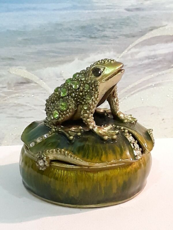 Crystal Accent Limoges Cloisonne Enamel Frog on a Lily Pad Hinged Trinket Box