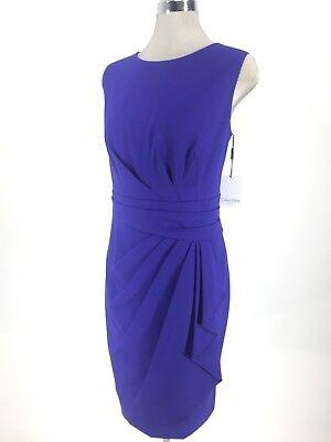 Calvin Klein NWT Modern Blue Dress pleated waist fancy faux wrap 6,8,10,12,14 Pleated Faux Wrap