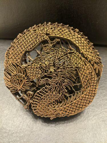 Vintage Copper Batik Textile Stamp Tjap – Chinese Dragon w/ Flaming Pearl design