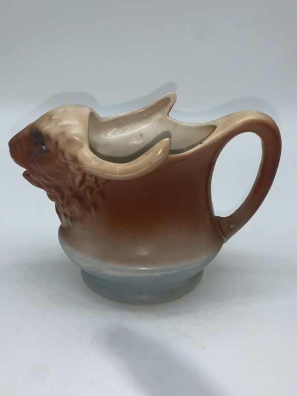 vintage pottery bison buffalo big creamer jug pitcher Austria