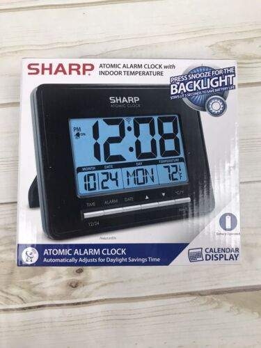 Sharp ATOMIC ALARM CLOCK with INDOOR TEMPERATURE CALENDAR Wa