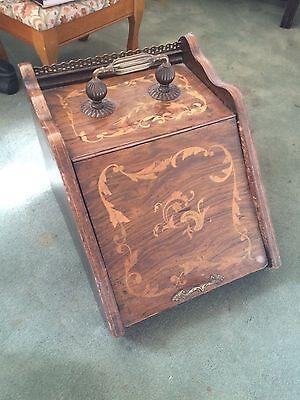 Antique Inlaid Wood Coal Bin Fireplace Fire Scuttle Box 1850