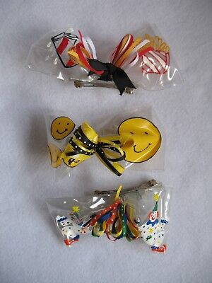 Hairbows Painted on Plastic - Clown, Smiley Face, Drink & Fries  (3) NEW](Clown Bows)