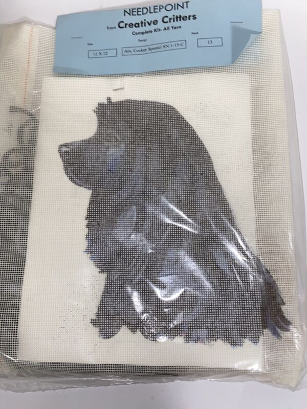 Creative Critters Needlepoint Cocker Spaniel Black Dog Kit 1-15-a