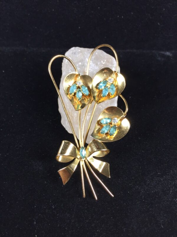 Vintage Coro Sterling Silver Brooch Wire Bow Blue Stones Gold Tone Flower Deco