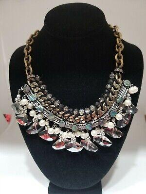 ESTATE ZARA Statement Necklace Bib Chain Crystals Pearls Rhinestones abalone ?