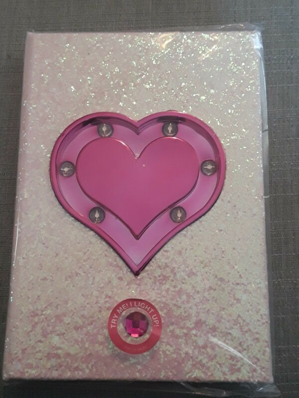 New Love In The Air Light Up Notebook, Lined Pages, Pink Holographic Glitter