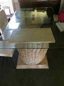 Beautiful Fossil stone, glass top dinning table with 6 white leat Bankstown Bankstown Area Preview
