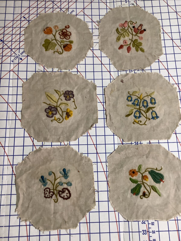 6 Vintage 70s Crewel Embroidery COMPLETED JACOBEAN FLORAL DESIGNS on Linen