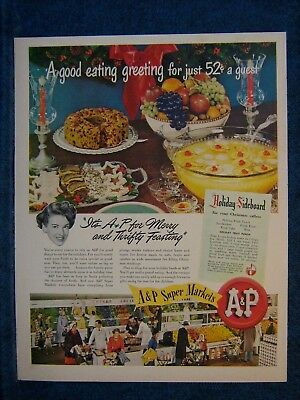 1949 A & P Super Markets Ad Print - Recipe For Holiday Fruit Punch- Christmas - Christmas Punch Recipe