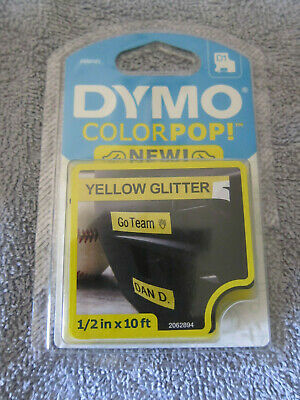 Dymo Colorpop Yellow Glitter Tape Label Refill D1 2062870 12 In X 10 Ft. New