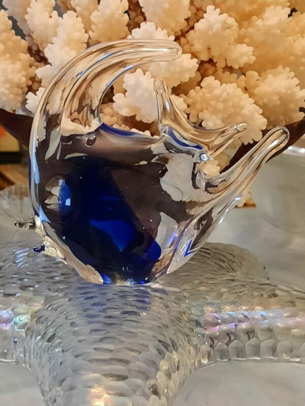 Paperweight, Murano Style Art Glass, Tropical Angle Fish, Beach Decor, Glass