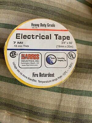 1 Roll Yellow Vinyl Pvc Electrical Tape 34 X 66 Flame Retardant Free Shipping
