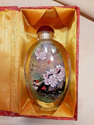 "Chinese Asian Glass Reverse Hand Painted Perfume Snuff Bottle (4"") Original Box"