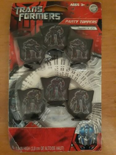 6 Pack Wilton Transformers Cupcake Party Toppers Decoration Plastic