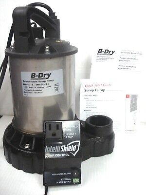 B-dry 12 Hp Submersible Sump Pump Probe Switch High Water Alarm B-dry50-01 Nib