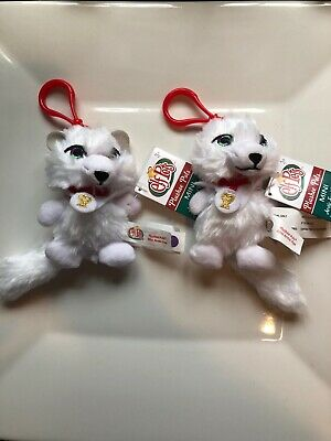 """Two New The Elf on the Shelf Elf Pets Plushee Pals Mini Clip-On 4"""" Artic Fox"""