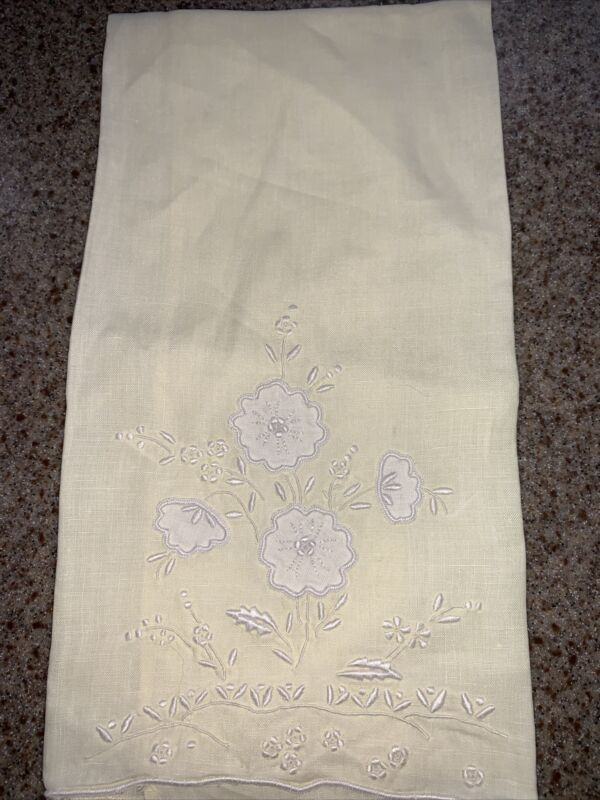 Antique VTG Floral APPENZELL Madeira Embroidery Lace LINEN Yellow Hand Towel