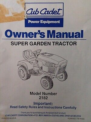 Cub Cadet Corp Ccc Mtd 2182 Super Garden Lawn Tractor Owners Manual Wg600 Kubota