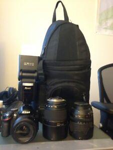 Nikon D3200 DSLR camera, flash, bag and two bonus lenses