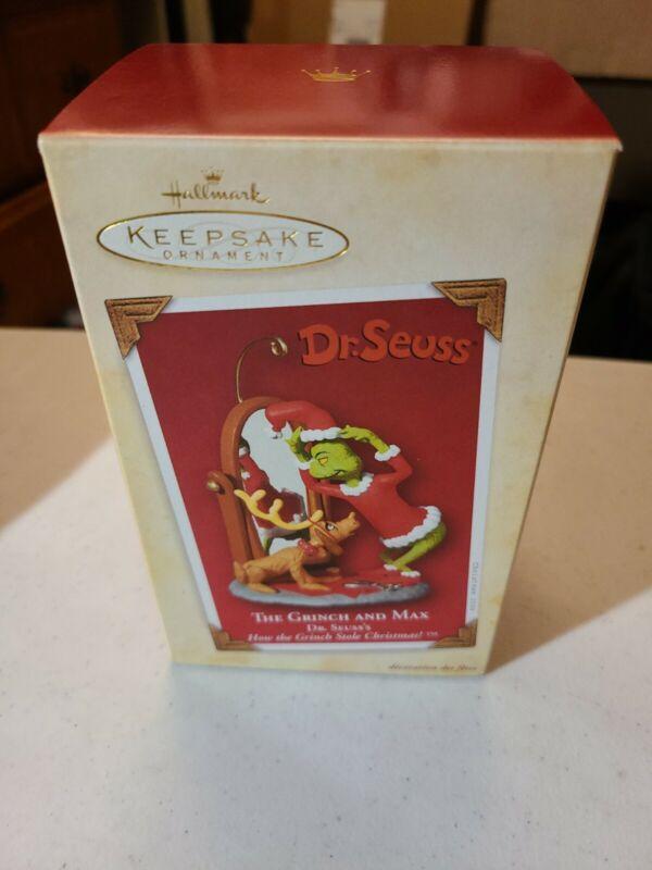 Hallmark KEEPSAKE ORNAMENT - Dr. Seuss - THE GRINCH AND MAX -  2004