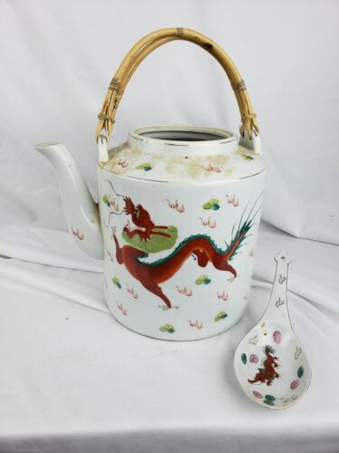 Huge vintage chinese dragon-themed teapot with the ladle