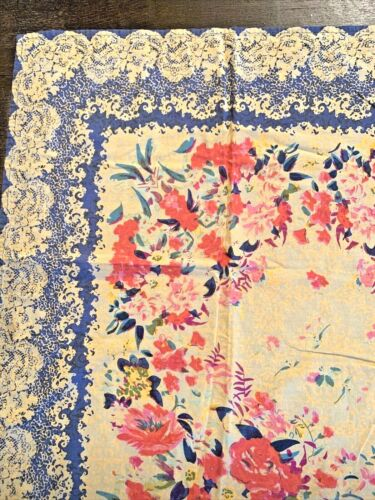 April Cornell Tablecloth Roses Floral Flowers 50x50 Cotton YELLOW PINKS BLUES