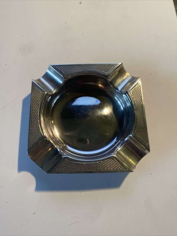 Antique Sterling Silver Engine Turned Ashtray - Birmingham Assay
