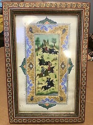 VTG Persian Painting Khatam Inlay Horses Hunters Art Wooden Frame NICE 8 x 12""