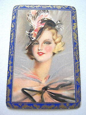 VINTAGE PLAYING CARD 1 SINGLE SWAP CARD ENN GILDED BORDER TITLED FIFI 1930
