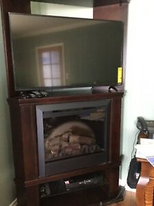 Corner electric fireplace media center
