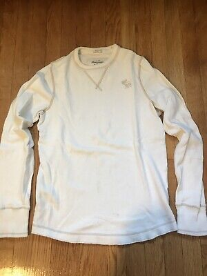 Men's Long Sleeve Sweater White Size Large Abercrombie & Fitch Muscle