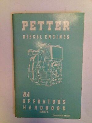 Petter Diesel Engines - type BA - Operators Handbook Issue 5