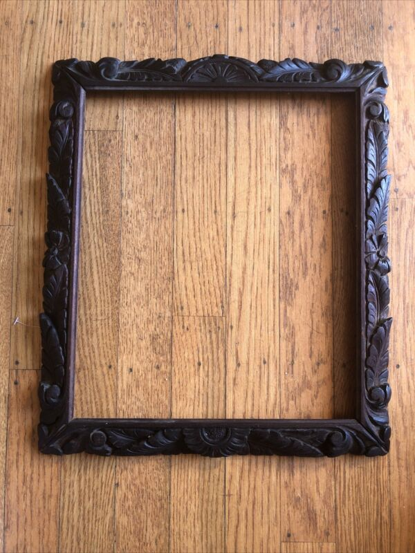 Antique Carved Wood Picture Frame, Circa 1875