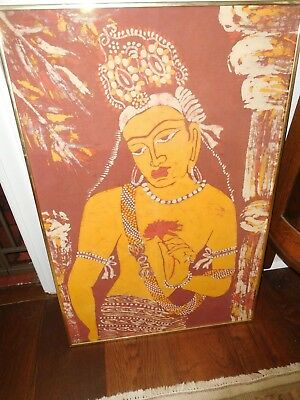 "VINTAGE HINDU INDIA BATIK ART FRAMED LINEN ANTIQUE HAND MADE INDIAN 22"" x 33"""