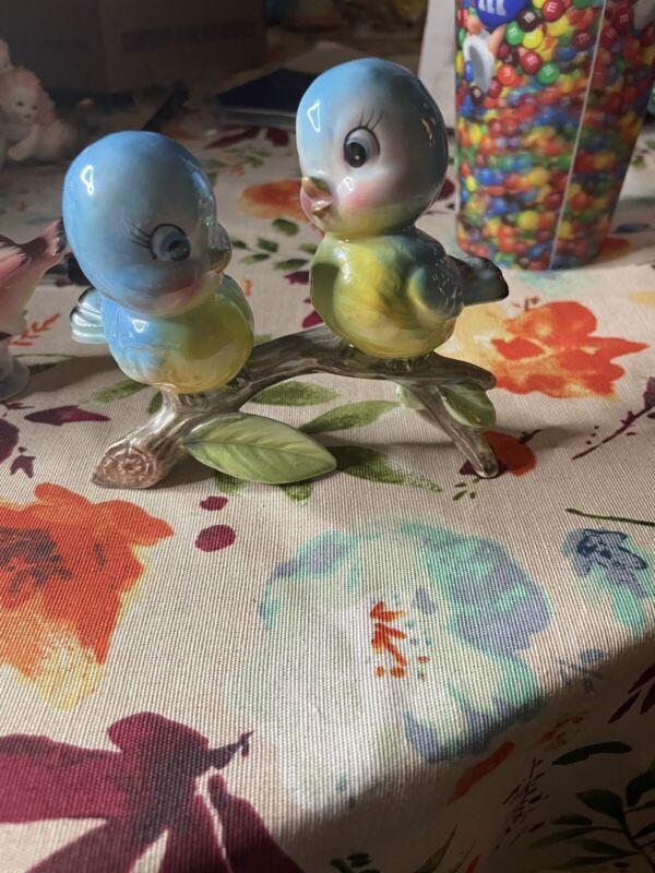 Vintage Lefton??? Two Bluebird Birds Branch Blue Birds Anthropomorphic