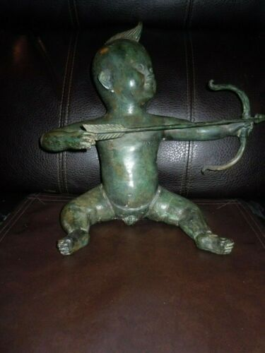 Antique/Vintage Metal Figure/Stature of Cupid With Bow & Arrow
