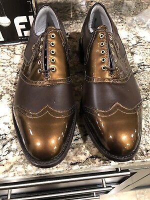 VINTAGE Footjoy Classics Dry Premiere Mens Golf Shoes 50687 NEW Brn/Bronz 14 D