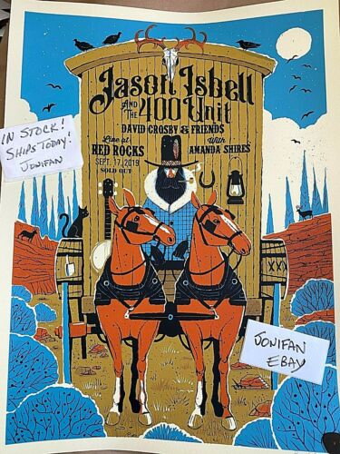 RARE! JASON ISBELL RED ROCKS CO 2019 AE SIGNED S/N #/455 POSTER PRINT SHIPS 2DAY