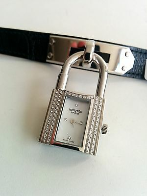Authentic Hermes  DIAMONDS Kelly Wrist Watch Crocodile strap, original Box New