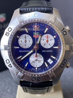 TAG Heuer Mens Aquaracer Chronograph Blue CAF1111, New Strap + Original + Box