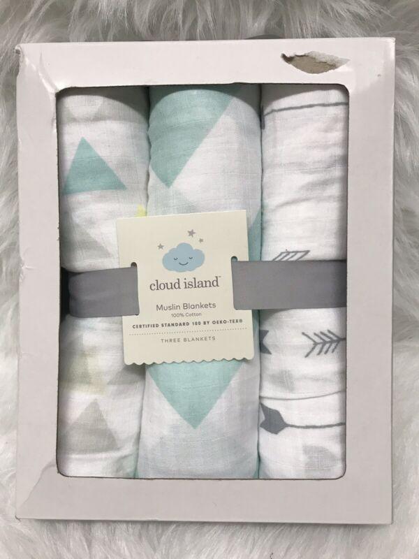 Cloud Islan Infant Muslin Blankets Gray-Blue 100% Cotton 3 Blanket Per Set