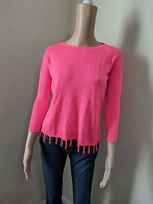 Lilly Pulitzer Acrylic, Fringe Sweater Size Large (8-10) Color Pink Acrylic Colored Sweater