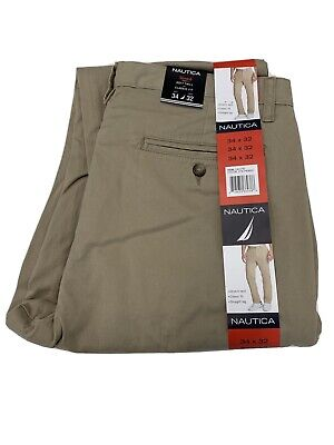Nautica Mens Khaki Pants NEW Soft Twill Classic Fit 34x32 Cotton blend NEW-MARKS