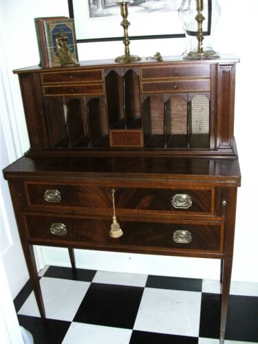 Inlaid Mahogany Tambour Desk