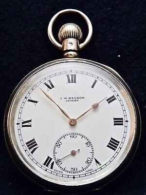 J.W.BENSON Solid Silver English Case Pocket Watch London 1939 50.57mm Working for sale  Shipping to Ireland