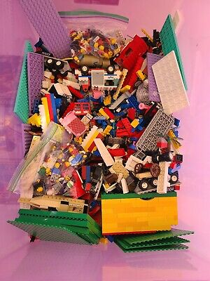 Lego Bulk Lot 13.5lbs Mixed Pieces Minifigs Vintage Manuals + Buckets
